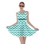 Turquoise & White Zigzag Pattern Skater Dress