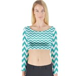 Turquoise & White Zigzag Pattern Long Sleeve Crop Top