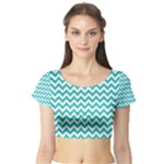 Turquoise & White Zigzag Pattern Short Sleeve Crop Top (Tight Fit)