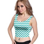 Turquoise & White Zigzag Pattern Crop Top