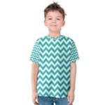Turquoise & White Zigzag Pattern Kid s Cotton Tee