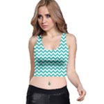 Turquoise & White Zigzag Pattern Racer Back Crop Top