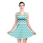 Turquoise & White Zigzag Pattern Reversible Skater Dress