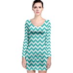 Turquoise & White Zigzag Pattern Long Sleeve Bodycon Dress