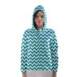 Turquoise & White Zigzag Pattern Hooded Wind Breaker (Women)