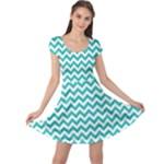 Turquoise & White Zigzag Pattern Cap Sleeve Dresses