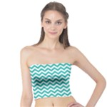 Turquoise & White Zigzag Pattern Tube Top