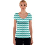 Turquoise & White Zigzag Pattern Women s V-Neck Cap Sleeve Top