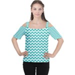 Turquoise & White Zigzag Pattern Women s Cutout Shoulder Tee