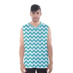 Turquoise & White Zigzag Pattern Men s Basketball Tank Top