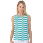 Turquoise & White Zigzag Pattern Women s Basketball Tank Top