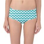 Turquoise & White Zigzag Pattern Mid-Waist Bikini Bottoms