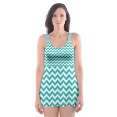 Turquoise & White Zigzag Pattern Skater Dress Swimsuit by Zandiepants