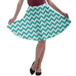 Turquoise & White Zigzag Pattern A-line Skater Skirt