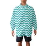 Turquoise & White Zigzag Pattern Wind Breaker (Kids)