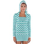Turquoise & White Zigzag Pattern Women s Long Sleeve Hooded T-shirt