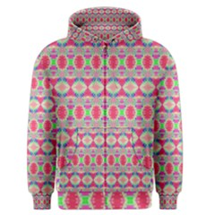 Pretty Pink Shapes Pattern Men s Zipper Hoodie by BrightVibesDesign