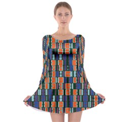 4 Colors Shapes                                    Long Sleeve Skater Dress by LalyLauraFLM