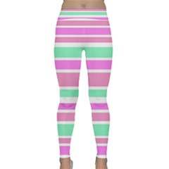Pink Green Stripes Yoga Leggings by BrightVibesDesign