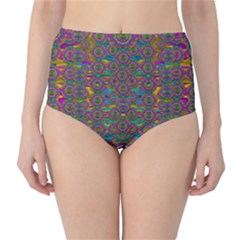 Peacock Eyes In A Contemplative Style High Waist Bikini Bottoms by pepitasart