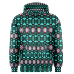 Fancy Teal Red Pattern Men s Zipper Hoodie by BrightVibesDesign