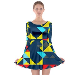 Colorful Shapes On A Blue Background                                        Long Sleeve Skater Dress by LalyLauraFLM