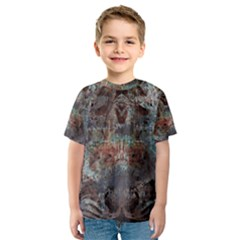 Metallic Copper Patina Urban Grunge Texture Kid s Sport Mesh Tee by CrypticFragmentsDesign