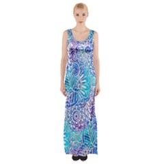 Boho Flower Doodle On Blue Watercolor Maxi Thigh Split Dress by KirstenStar
