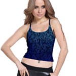 Blue Ombre Feather Pattern, Black,  Spaghetti Strap Bra Top