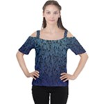 Blue Ombre Feather Pattern, Black,  Women s Cutout Shoulder Tee