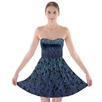 Blue Ombre Feather Pattern, Black,  Strapless Dresses