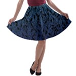 Blue Ombre Feather Pattern, Black,  A-line Skater Skirt
