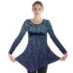 Blue Ombre Feather Pattern, Black,  Long Sleeve Tunic