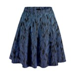 Blue Ombre Feather Pattern, Black,  High Waist Skirt