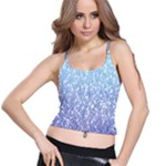 Blue Ombre Feather Pattern, White,  Spaghetti Strap Bra Top