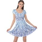 Blue Ombre Feather Pattern, White,  Cap Sleeve Dresses