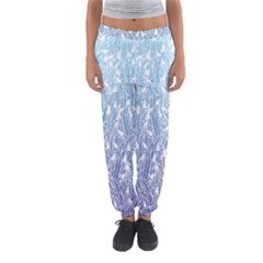 Blue Ombre Feather Pattern, White,  Women s Jogger Sweatpants by Zandiepants