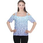 Blue Ombre Feather Pattern, White,  Women s Cutout Shoulder Tee