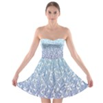 Blue Ombre Feather Pattern, White,  Strapless Dresses