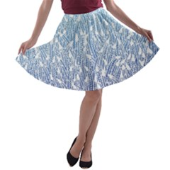 Blue Ombre Feather Pattern, White,  A Line Skater Skirt by Zandiepants