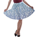 Blue Ombre Feather Pattern, White,  A-line Skater Skirt