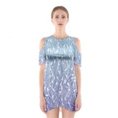 Blue Ombre Feather Pattern, White,  Cutout Shoulder Dress by Zandiepants