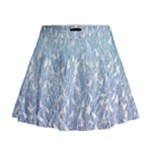 Blue Ombre Feather Pattern, White,  Mini Flare Skirt
