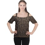 Brown Ombre Feather Pattern, Black,  Women s Cutout Shoulder Tee