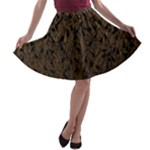 Brown Ombre Feather Pattern, Black,  A-line Skater Skirt
