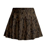 Brown Ombre Feather Pattern, Black,  Mini Flare Skirt