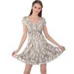 Brown Ombre Feather Pattern, White, Cap Sleeve Dresses