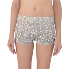Brown Ombre Feather Pattern, White, Reversible Boyleg Bikini Bottoms by Zandiepants