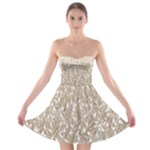 Brown Ombre Feather Pattern, White, Strapless Dresses
