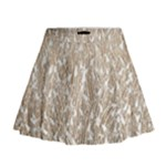 Brown Ombre Feather Pattern, White, Mini Flare Skirt